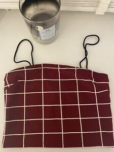 New Red Check Stretchy Shein Crop Top Size XS UK 6-8
