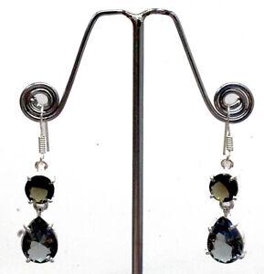 """925 Sterling Silver Alexandrite & Smoky Gemstone Jewelry Earrings Size-1.80"""""""