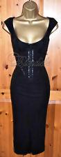 🎀 KAREN MILLEN STUNNING BLACK CORSET COCKTAIL WIGGLE DRESS UK 12 OCCASION PARTY