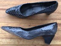 France Mode Shoes Snake Skin Leather High Heels Footwear Size 6.5 Spring Easter
