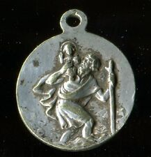 ANTIQUE SILVERED MEDAL OF st christopher and st godelieve overside