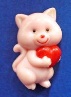 Russ PIN Valentines Vintage CAT HEART Kitten PINK Holiday Brooch