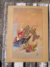 1/ Ancienne estampe pochoir aquarelle Japonaise cachet ,décor personnages