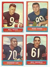 Lot of 4 1963 Topps Chicago Bears #61 Bill Wade 62 Mike Ditka 67 Lee 70 ExMint