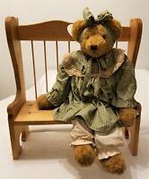 "ARTIST SIGNED ""1996 LINDA"" Large 25"" Tall OOAK Handmade TEDDY BEAR in Dress"