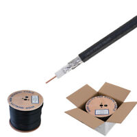 500ft RG6 Coaxial Cable Wire Dual Shield 18AWG Black Coax Satellite TV