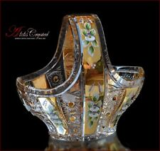"""Bohemian Crystal Vase for sweets or candy 21 cm, """"Shaherezada"""" Gold, New!"""