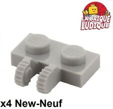Lego - 4x Charnière hinge plate plaque 1x2 locking gris/light b gray 60471 NEUF