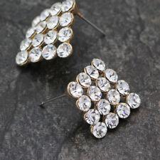 WOMEN'S 18K Gold GP 16MM Big Crystal Rhombus Square Stud Earrings Stunning