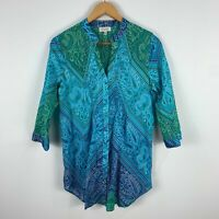 Capture Womens Top 12 Blue Green Paisley Long Sleeve V-Neck Button Closure