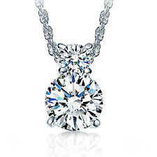 Women 925 Silver Necklace Austria Crystal Zircon Pendant Jewelry Christmas Gift