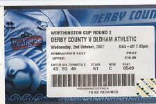 Biglietti-Derby County V Oldham Athletic 02.10.02 League Cup