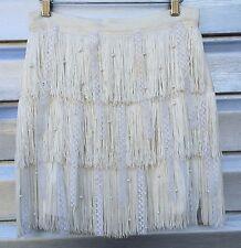 ALICE + OLIVIA Ivory Fringe Lace Silk Pearl Tiered Gatsby Mini Skirt RARE!!