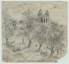 RARE -SUPER - 1840s Drawing - Royal Observatory Greenwich - Folk Art? Sketch