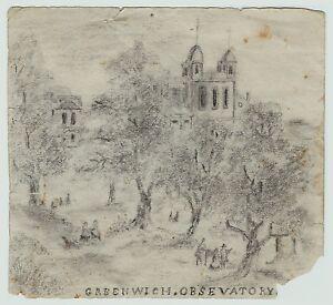 RARE -SUPER - 1840s Drawing - Royal Observatory Greenwich - Folk Art? Sketch