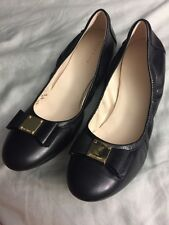 NEW Cole Haan TALI Bow Ballet Flat Black Leather Shoes Size 8B MSRP $178