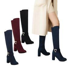Женская бедро высокие середины икры сапоги до колена на молнии 7 см каблук круглый носок туфли 34/48 D