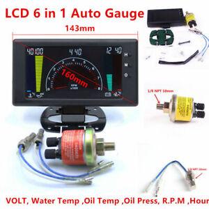 5'' LCD Digital 6in 1 Car Volt/Water Temp/Oil Temp/Oil Pressure/Hour Gauge Meter