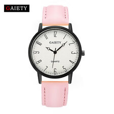 Fashion Womens Watch Stainless Steel Leather Analog Quartz Girl Dial Wrist Watch
