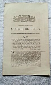 Act of Parliament - 18th May 1810 - Alteration to Ouse Bridge, City of York