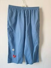 Quacker Factory Size large trousers blue loose fit cropped embroidery detail