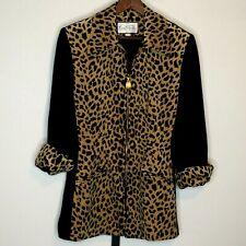 Mary McFadden Suits Velvet Animal Print Jacket S Black Leopard USA Zip Front