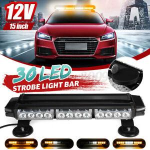 15'' 30LED Car Truck Emergency Warning Beacon Strobe Light Bar Amber & White