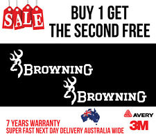 2 x BROWNING HUNTING DECAL STICKER FOR CAR, UTE, ESKY 200MM WIDE IN WHITE