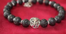Head Bead Memory Wire Safety Clasp Lava Rock Gemstone Bracelet Silver Lion