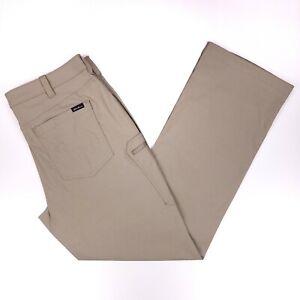 Eddie Bauer Rainier Pants Saddle 36x32 Nylon Beige Zip Pocket Mens Size Trouser