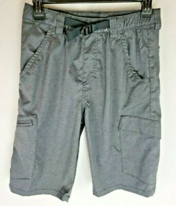 Wrangler Mountain Youth Boys XL 14/16 Grey Belted Stretch Poly Cargo Shorts