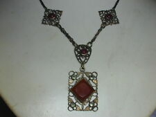 ANTIQUE~ CZECH GOLD WASHED CARNELIAN MARCASITE NECKLACE!