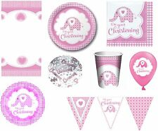 Pink Girls Christening Party Tableware Decorations Pink Elephant Napkins, Plates