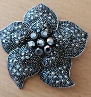 Authentic Vintage Gorgeous Genuine Hematite Large Flower Brooch / Pin!