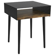 IRONCK End Table Living Room, Side Table with Metal Storage Shelf