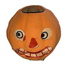 Antique Halloween Germany Pressed Cardboard Jack O Lantern W/ Original Insert