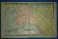 Vintage 1903 MAP ~ ALASKA / ALASKAN TERRITORY ~ Old Original Cram Atlas Map