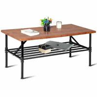 2-Tier Cocktail Coffee Table Living Room Furniture Metal Frame W/ Storage Shelf