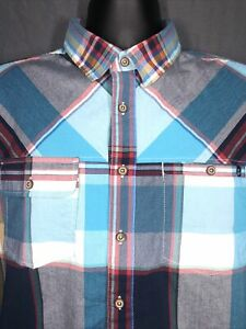 KAVU Plaid Button Down Shirt, Teal/Brick/Gray, mens size L