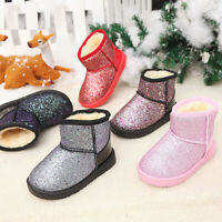 FASHION GIRLS SNOW BOOTS SPARKLE SLIPPERS PARTY GLITTER SHOES FUR LINED SIZE