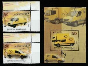 MACEDONIA 2013 EUROPA CEPT POSTAL VEHICLES CARS MNH SET + SOUVENIR SHEET