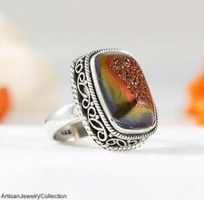 TITANIUM DRUZY & .925 Sterling Silver RING Size ~7.25