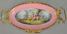 Antique French Porcelain Portrait Ormolu Mounted Vanity Tray Platter Plate