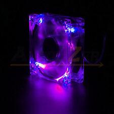 Quad 4 LED Lights Clear 80mm 120mm PC Computer Case Cooling Fan Mod All color