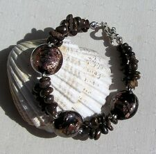 "Bronzite & Brown Silverfoil Beaded Gemstone Bracelet ""Chocolate Truffle"""