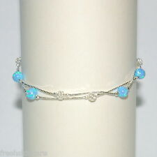 OPAL and Mesh Beads Sterling Silver 925 Two Strands ANKLET - Made to your size