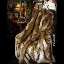 Luxury Fur Throw Blanket - Coyote Stripe - Golden Brown Ivory - Minky Cuddle Fur