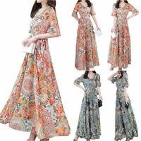 Damen Kurzarm Glockenärmel Midikleid Blumen Schwingen Kleider Sommer Kleidung