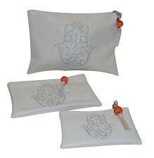 Moroccan Faux Leather Pouch Set Organizer Hamsa Cosmetic Bag Wallet Bag White