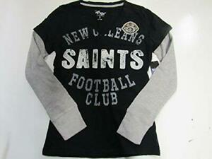 New Orleans Saints Womens Size S Long Sleeve Layered Look V-Neck T-Shirt A1 1113